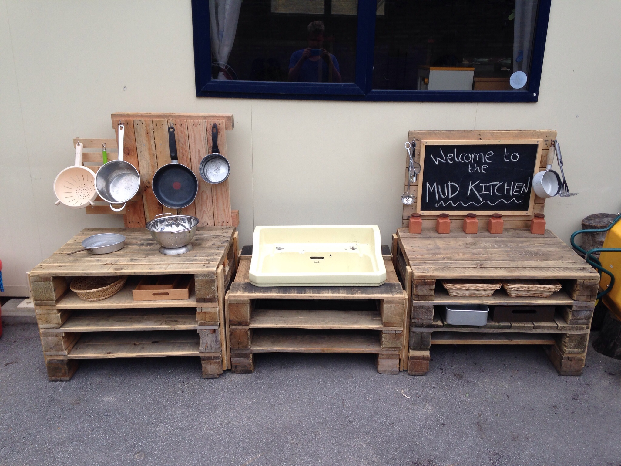 A mud kitchen for less than 10 for Kitchen ideas using pallets